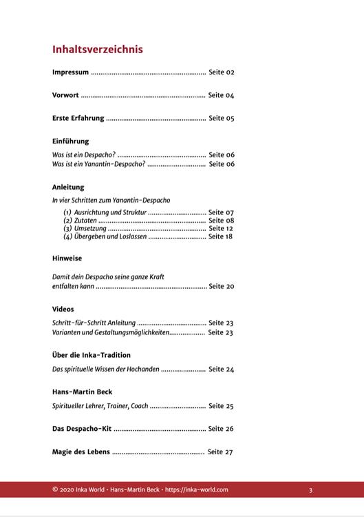 Inhaltsverzeichnis für den Online-Kurs Despachos machen