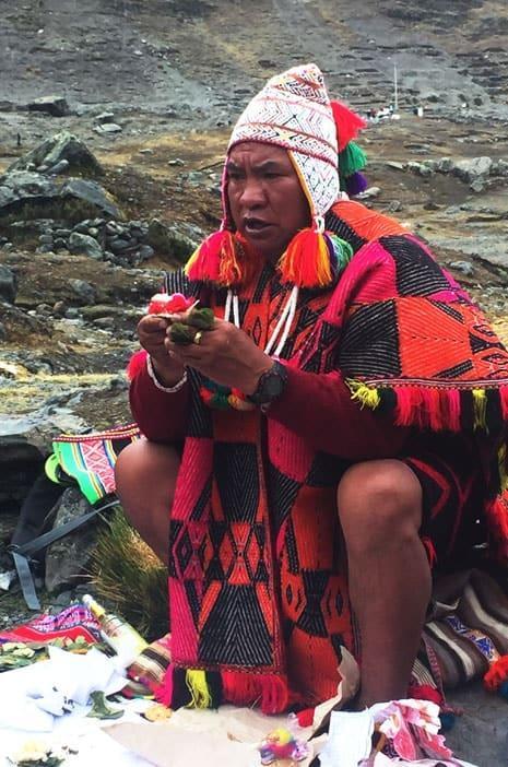 Martin Quispe Machacca, einer von zwei verbliebenen Hohepriestern (alto mesayoq) der Inka-Tradition in Peru